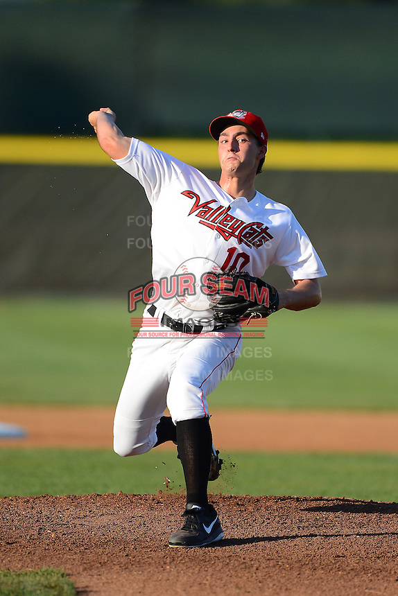 Tri-City ValleyCats pitcher Andrew Thurman (10) during a game against the Lowell Spinners on July 6, 2013 at Joseph L. Bruno Stadium in Troy, New York.  Lowell defeated Tri-City 4-3.  (Mike Janes/Four Seam Images)