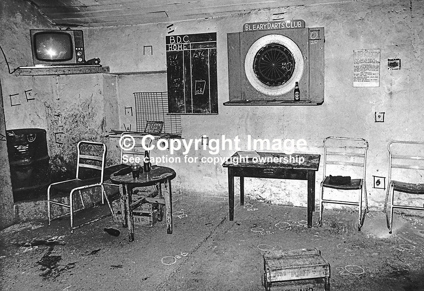 Scene of UVF triple sectarian shooting at Bleary Darts Club, near Portadown, Co Armagh, N Ireland, 27th April 1975. Three Roman Catholic men, John Feeney, Joseph Toman and Brendan O'Hara, all married with families, died in the attack. 326/75,  197504280326<br />