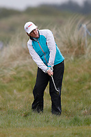 Clare Balding  plays from he rough on the 3rd during the Hero Pro-am at the Betfred British Masters, Hillside Golf Club, Lancashire, England. 08/05/2019.<br /> Picture David Kissman / Golffile.ie<br /> <br /> All photo usage must carry mandatory copyright credit (© Golffile | David Kissman)