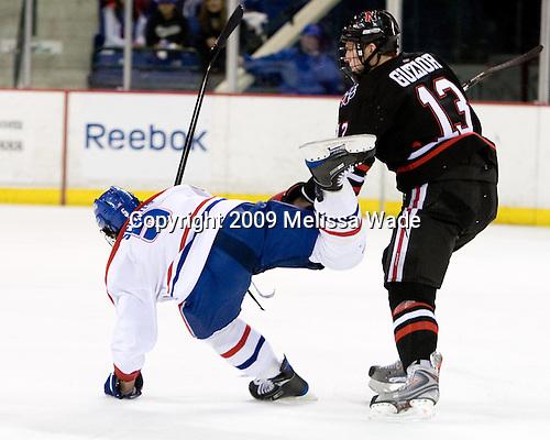 Nick Schaus (UMass-Lowell - 5), Randy Guzior (Northeastern - 13) - The Northeastern University Huskies defeated the University of Massachusetts-Lowell Riverhawks 3-1 on Saturday, February 28, 2009, at the Paul E. Tsongas Arena in Lowell, Massachusetts.