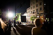 April 30, 2009. Durham, NC.. Filming for the movie Main Street came to the corner of Main Street and Morgan in downtown Durham, with star Colin Firth making an appearance to shoot a scene and sign autographs.