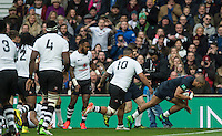 Twickenham, United Kingdom. Jonathan JOSEPH, going over to score a first half try during the Old Mutual Wealth Series Rest Match: England vs Fiji, at the RFU Stadium, Twickenham, England, Saturday  19/11/2016<br />