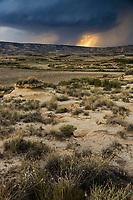 Europe, Espagne, Navarre, env de Carcastillo : Parc Naturel des Bardenas Reales, Paysage de la Blanca Alta // Europe, Spain, Navarre, near Carcastillo :  Blanca Alta landscape