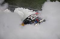 Jul. 4, 2008; Daytona Beach, FL, USA; Nascar Nationwide Series driver Denny Hamlin celebrates after winning the Winn-Dixie 250 at Daytona International Speedway. Mandatory Credit: Mark J. Rebilas-