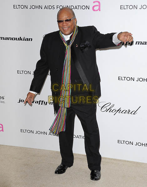 QUINCY JONES .at the 19th Annual Elton John AIDS Foundation Academy Awards Viewing Party held at The Pacific Design Center Outdoor Plaza in West Hollywood, California, USA, February 27th 2011..oscars  full length black suit scarf sunglasses hand arm striped .CAP/RKE/DVS.©DVS/RockinExposures/Capital Pictures.