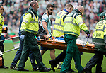Celtic v St Johnstone &hellip;26.08.17&hellip; Celtic Park&hellip; SPFL<br />Murray Davidson is stretchered off after his head clash<br />Picture by Graeme Hart.<br />Copyright Perthshire Picture Agency<br />Tel: 01738 623350  Mobile: 07990 594431