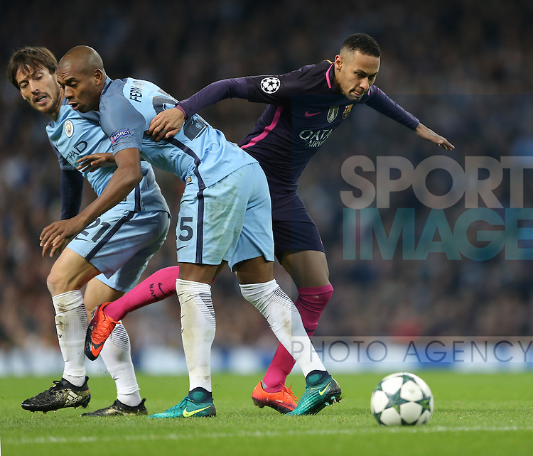 Neymar of Barcelona tries to get past Fernandinho of Manchester City during the Champions League Group C match at the Etihad Stadium, Manchester. Picture date: November 1st, 2016. Pic Simon Bellis/Sportimage