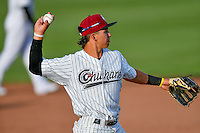 Pioneer League All-Star Manny Olloque (11) of the Idaho Falls Chukars during the game against the Northwest League All-Stars at the 2nd Annual Northwest League-Pioneer League All-Star Game at Lindquist Field on August 2, 2016 in Ogden, Utah. The Northwest League defeated the Pioneer League 11-5. (Stephen Smith/Four Seam Images)