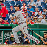 8 July 2017: Atlanta Braves first baseman Matt Adams hits a 3-run homer in the 9th inning against the Washington Nationals at Nationals Park in Washington, DC. The Braves shut out the Nationals 13-0 to take the third game of their 4-game series. Mandatory Credit: Ed Wolfstein Photo *** RAW (NEF) Image File Available ***
