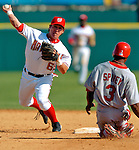 8 March 2006: Josh Labandeira, infielder for the Washington Nationals, doubles off Junior Spivey during a Spring Training game against the St. Louis Cardinals. The Cardinals defeated the Nationals 7-4 in 10 innings at Space Coast Stadium, in Viera, Florida...Mandatory Photo Credit: Ed Wolfstein.