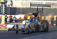 Feb 6, 2015; Pomona, CA, USA; NHRA top fuel driver Shawn Langdon during qualifying for the Winternationals at Auto Club Raceway at Pomona. Mandatory Credit: Mark J. Rebilas-USA TODAY Sports