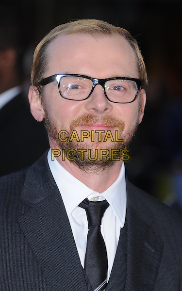 Simon Pegg.'The Adventures of Tintin: The Secret of the Unicorn' UK film premiere, 55th BFI London Film Festival, Odeon West End cinema, Leicester Square, London, England..23rd October 2011.LFF headshot portrait black beard facial hair glasses grey gray.CAP/WIZ.© Wizard/Capital Pictures.