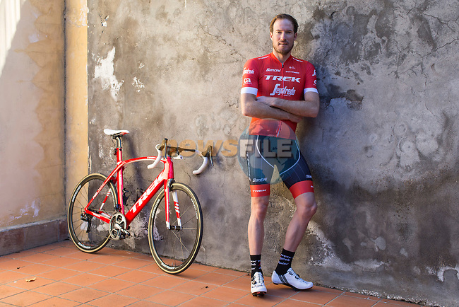 At the age of 38 and after 11 years racing on Trek bikes, Swiss rider Grégory Rast has decided that the 2018 season will be his final season as a professional bike rider. Rast started his professional career at Post-Swiss team in 2001. In his 17-year-long career, Rast competed in 10 Grand Tours and 51 Classics. Amongst his victories, his two Swiss national titles ('04, '06), a stage in the Tour de Suisse ('13) and winning the Skoda-Tour de Luxembourg ('07) stand out most.<br /> Picture: Trek Factory Racing | Cyclefile<br /> <br /> All photos usage must carry mandatory copyright credit (Cyclefile | Trek Factory Racing)