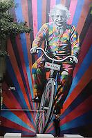 SAO PAULO, SP, 24.05.2015 - GRAFITE-SP - Vista do mural pintado pelo artista plástico Eduardo Kobra na rua Oscar Freire, na região dos Jardins, em São Paulo, nesta sexta-feira. A obra traz a imagem do físico Albert Einstein andando de bicileta. (Foto: Vanessa Carvalho / Brazil Photo Press)