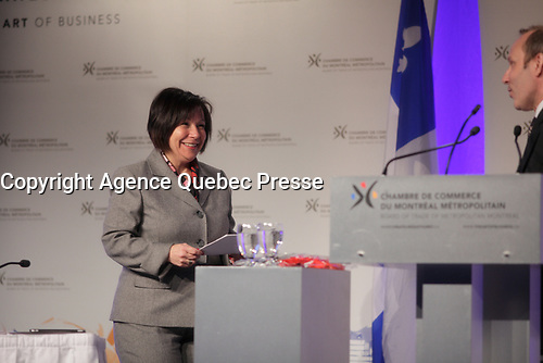 February 21, 2014 - Elaine Zakaib<br /> Minister for Industrial Policy and the Banque de developpement economique du Quebec, attend a Strategic Forum on the manufacturing sector<br /> <br /> Elaine Zakaib, ministre deleguee à la Politique industrielle et a la Banque de developpement economique du Quebec participe au Forum strategique sur le secteur manufacturier<br /> <br /> Photo : (c) COPYRIGHT Pierre Roussel<br /> <br /> PHOTO :  Agence Quebec Presse