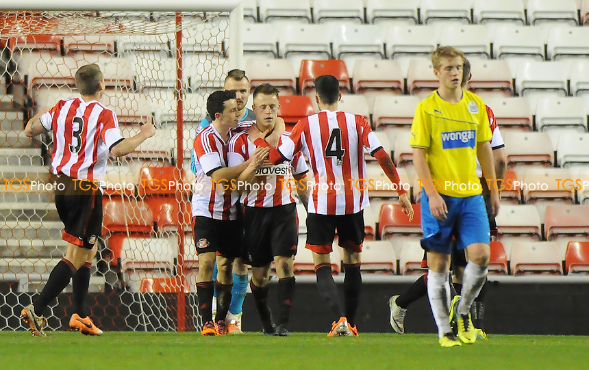 Jordan Laidler of Sunderland celebrates scoring the opening goal of the game - Sunderland Under-21 vs Newcastle United Under-21 - Barclays Under-21 Premier League Football at the Stadium of Light, Sunderland - 03/02/14 - MANDATORY CREDIT: Steven White/TGSPHOTO - Self billing applies where appropriate - 0845 094 6026 - contact@tgsphoto.co.uk - NO UNPAID USE