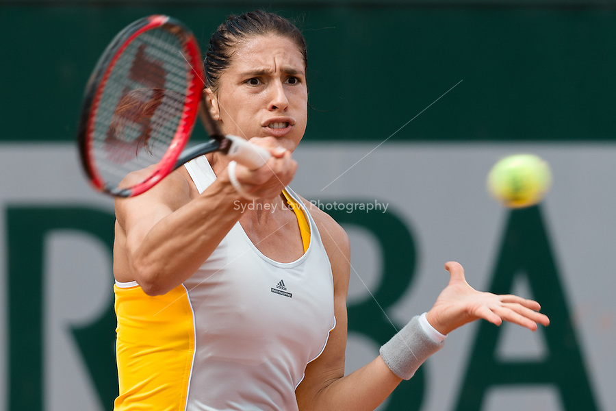 May 28, 2015: Andrea PETKOVIC of Germany in action in a 2nd round match against Lourdes Dominguez Lino of Spain on day five of the 2015 French Open tennis tournament at Roland Garros in Paris, France. Sydney Low/AsteriskImages