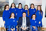 Killarney Mayor Niall Kelleher presented  a Killarney Municipal District award to St Brigids Presentation basketball team that won the National Cup in Killarney House on Friday night front row l-r: Amy Lehane, Niall Kelleher, Isabel Murphy. Back row: Tara Murphy, Julie Delaney, Evie Culloty, Ava Doherty, Treasa O'Sullivan, and Lysella O'Shea
