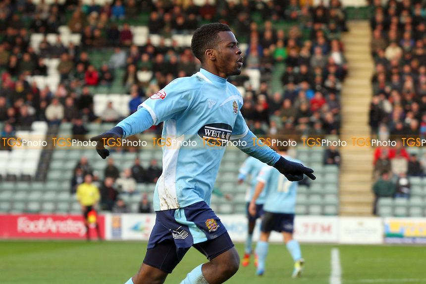Zavon Hines of Dagenham and Redbridge celebrates scoring the opening Daggers goal -  Plymouth Argyle vs Dagenham and Redbridge - Sky Bet League Two football at the Home Park Stadium - MANDATORY CREDIT: Dave Simpson/TGSPHOTO - Self billing applies where appropriate - 0845 094 6026 - contact@tgsphoto.co.uk - NO UNPAID USE
