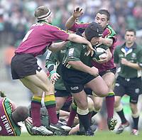 10/04/2002 - Powergen National Cup Final - Twickenham.London Irish vs Northampton..Exiles hooker Naka Drotske, on the charge..
