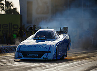 Mar 16, 2018; Gainesville, FL, USA; NHRA funny car driver Tommy Johnson Jr during qualifying for the Gatornationals at Gainesville Raceway. Mandatory Credit: Mark J. Rebilas-USA TODAY Sports