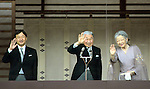 December 23, 2013, Tokyo, Japan - Flanked by his family, Japan's Emperor Akihito waves to flag-waving well-wishers celebrating his 80th birthday during a genreral audiencre at the Imperial Palace in Tokyo on Monday, December 23, 2013. The monarch told the crowd of some 25,000 people that he prayed the coming year will be a good year for all. Flanking Akihito are, from left: Crown Prince Naruhito and Empress Michiko. (Photo by Natsuki Sakai/AFLO)