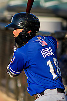 Biloxi Shuckers second baseman Keston Hiura (18) waits on deck during a Southern League game against the Jackson Generals on July 27, 2018 at The Ballpark at Jackson in Jackson, Tennessee. Biloxi defeated Jackson 15-7. (Brad Krause/Four Seam Images)