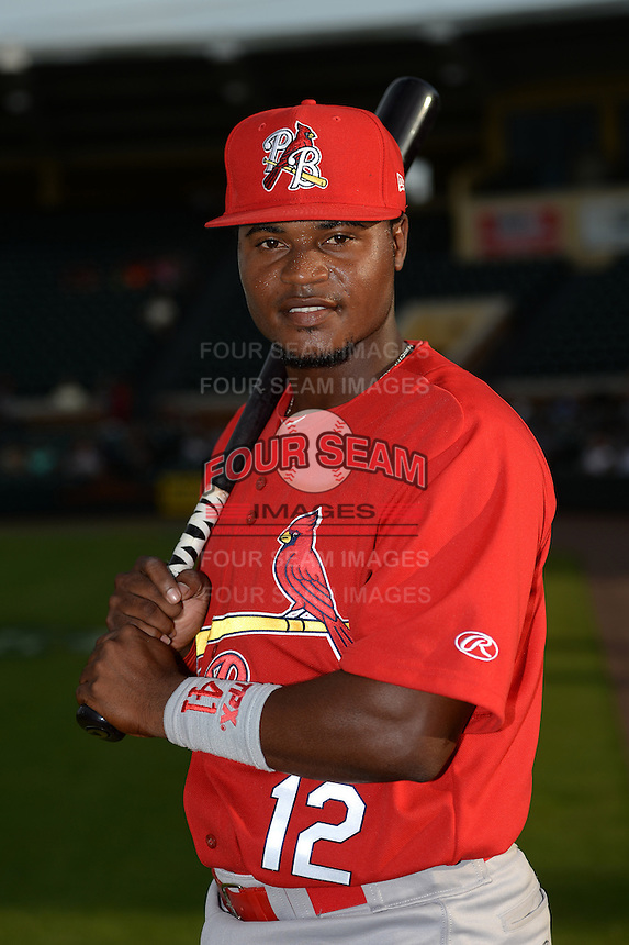 Palm Beach Cardinals shortstop Juan Herrera (12) poses for a photo before a game against the Lakeland Flying Tigers on April 13, 2015 at Joker Marchant Stadium in Lakeland, Florida.  Palm Beach defeated Lakeland 4-0.  (Mike Janes/Four Seam Images)