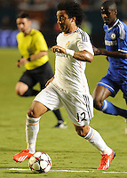 07.08.2013.Miami, Florida, USA. Marcelo Vieira (12)   during the second half in a the final of the Guinness International Champions Cup between Real madrid and Chelsea. The game was won by a score of 3-1 by Real Madrid with Ronaldo scoring a brace.