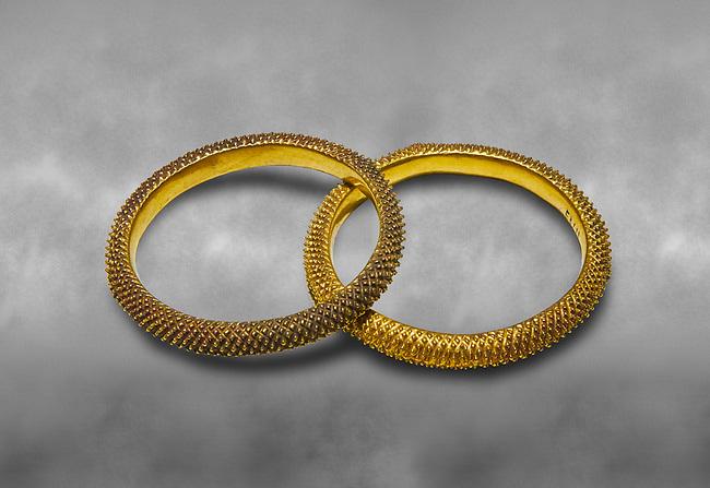 Bronze Age Hattian gold bracelet  from a possible Bronze Age Royal grave (2500 BC to 2250 BC) - Alacahoyuk - Museum of Anatolian Civilisations, Ankara, Turkey