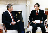 United States President Ronald Reagan meets with Shintaro Abe, former Foreign Minister of Japan in the Ovel office of the White House on Tuesday, April 21, 1987..Mandatory Credit: Pete Souza - White House via CNP