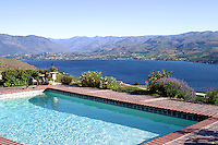 Swimming pool at Tim and Mary Flood's home located on the south side of Lake Chelan in Hawks Meadow, a Bear Mountain Ranch property.