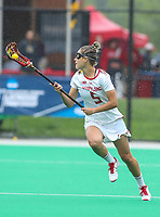 College Park, MD - May 19, 2018: Maryland Terrapins Jen Giles (5) runs with the ball during the quarterfinal game between Navy and Maryland at  Field Hockey and Lacrosse Complex in College Park, MD.  (Photo by Elliott Brown/Media Images International)