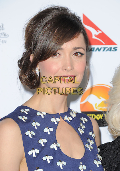 Rose Byrne.at The G'Day USA Black Tie Gala held at The JW Marriot at LA Live in Los Angeles, California, January 12th 2013.                                                                 .portrait headshot blue  cut out navy white beaded beads hair up fringe print .CAP/DVS.©Debbie VanStory/Capital Pictures.