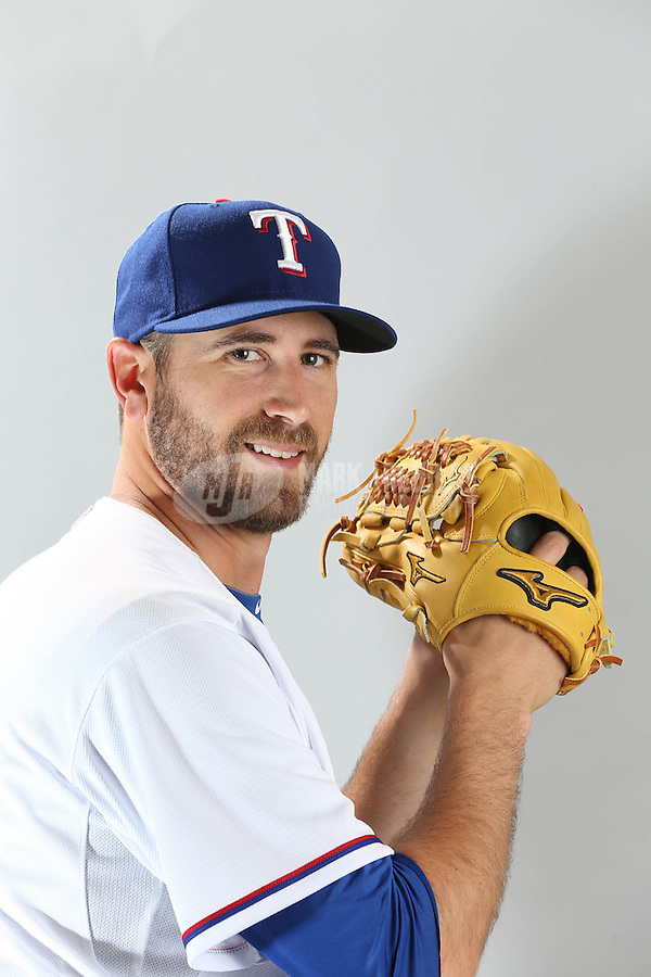 Feb. 20, 2013; Surprise, AZ, USA: Texas Rangers pitcher Michael Kirkman poses for a portrait during photo day at Surprise Stadium. Mandatory Credit: Mark J. Rebilas-
