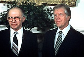 United States President Jimmy Carter, right, and Prime Minister Menachem Begin of Israel, left, pose for photographers in the Oval Office of the White House in Washington, DC on November 13, 1980.<br /> Credit: Arnie Sachs / CNP