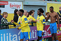 Customary Haringey player crowd handshakes during Haringey Borough vs Corinthian Casuals, BetVictor League Premier Division Football at Coles Park Stadium on 10th August 2019