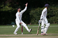 Zain Shahzad in bowling action for Wanstead during Brentwood CC vs Wanstead and Snaresbrook CC, Essex Cricket League Cricket at The Old County Ground on 12th September 2020
