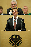 Berlin, Aussenminister Guido Westerwelle (FDP) spricht am Freitag (07.06.13) im Bundesrat vor der Abstimmung über den EU-Beitritt von Kroatien. Der Bundesrat stimmte für die Aufnahme Kroatiens als EU-Mitglied. Nach zehnjährigem Aufnahmeverfahren soll das Land am 1. Juli als 28. Mitglied in die EU aufgenommen werden. Foto: Steffi Loos/CommonLens