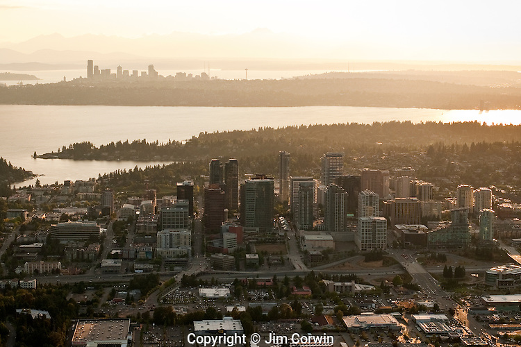 Aerial view of Bellvue skyline at sunset with Seattle skyline