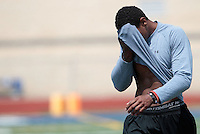 HEMPFIELD TOWNSHIP, PA - AUGUST 20:  Terrelle Pryor wipes the sweat off of his face during his pro day at a practice facility on August 20, 2011 in Hempfield Township, Pennsylvania.  (Photo by Jared Wickerham/Getty Images)