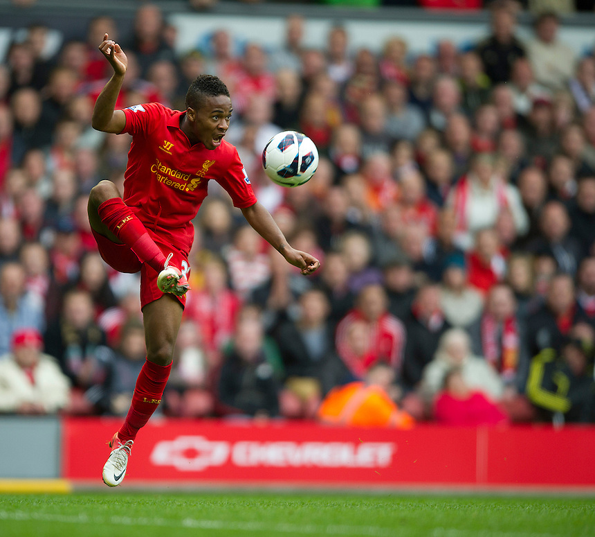 Liverpool's Raheem Sterling ..Football - Barclays Premiership - Liverpool v Manchester United - Sunday 23rd September 2012 - Anfield - Liverpool..