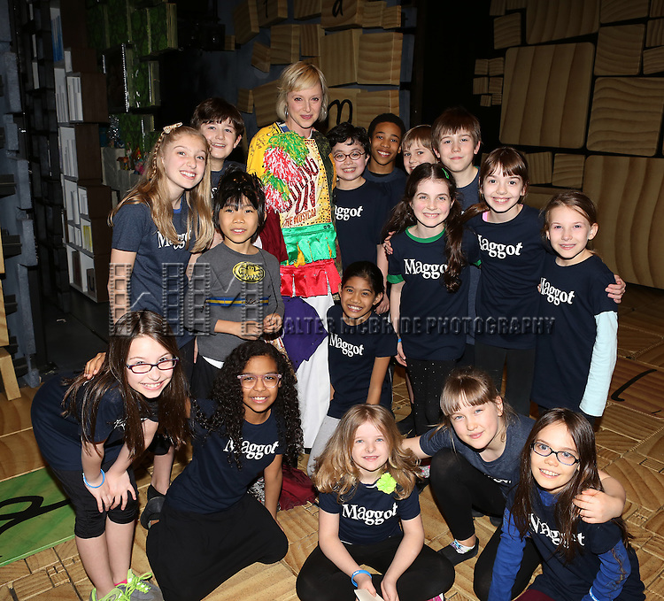 Nadine Isenegger with young ensemble cast members attending the Broadway Opening Night Performance Actors' Equity Gypsy Robe honoring Nadine Isenegger for 'Matilda The Musical' at the Shubert Theatre in New York City on 4/11/2013