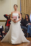 Model walks runway in an Alma bridal gown from the Peter Langner Bridal collection 2017, at the 3 West Club on April 16, 2016 during New York Bridal Fashion Week Spring Summer 2017.