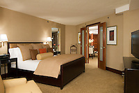 The spacious and luxurious bedroom of a fabulous guest suite at the Sheraton Hotel and Resort in Atlantic City, NJ.
