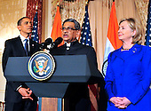 Foreign Minister S.M. Krishna of India, center, makes remarks as United States President Barack Obama, left, and U.S. Secretary of State Hillary Rodham Clinton, look on at a reception in the Minister's honor  at the State Department  in Washington, D.C. on Thursday, June 3, 2010..Credit: Ron Sachs - Pool via CNP