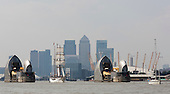 London, UK. 9 September 2014. The Tall Ships that have taken part in the Royal Greenwich Tall Ships Festival 2014 leave Greenwich in a Parade of Sail down the River Thames.