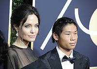 www.acepixs.com<br /> <br /> January 7 2018, LA<br /> <br /> Angelina Jolie (L) and Pax Thien Jolie-Pitt arriving at the 75th Annual Golden Globe Awards at The Beverly Hilton Hotel on January 7, 2018 in Beverly Hills, California.<br /> <br /> By Line: Peter West/ACE Pictures<br /> <br /> <br /> ACE Pictures Inc<br /> Tel: 6467670430<br /> Email: info@acepixs.com<br /> www.acepixs.com