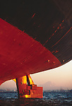 Seattle, Port of Seattle, cargo ship, ship's rudder, Mount Rainier, Harbor Island, Elliott Bay, Puget Sound, Washington State, Pacific Northwest, North America, USA, Pacific Rim Trade, .
