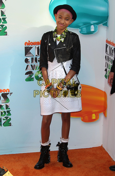 Willow Smith.2012 Nickelodeon Kids' Choice Awards held at the Galen Center, Los Angeles, California, USA..March 31st, 2012.full length white dress cropped black leather jacket hat boots yin yang bag purse.CAP/ADM/RE.©Russ Elliot/AdMedia/Capital Pictures.